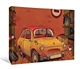 JP London DDCNV2215 Ready to Hang Feature Wall Art 2'' Thick Heavyweight Gallery Wrap Canvas Cartoon VW Punch Buggy Mystery Machine At 60'' Wide by 40'' High