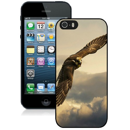 Coque,Fashion Coque iphone 5S Flying Eagle Cloudy Sky Noir Screen Cover Case Cover Fashion and Hot Sale Design