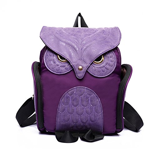Estwell Women PU Leather Owl Backpack Handbag Casual Daypack Shoulder Bag Travel Rucksack, Purple Purple