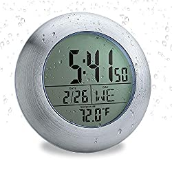 emate Waterproof Clock,Digital Bathroom Clock,displays time, Temperature and Humidity Date Day Indoor Suction Cup and Stand (Silver)