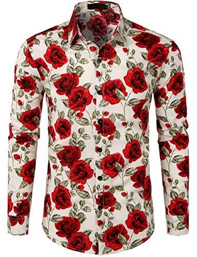 JOGAL Men's Flower Cotton Long Sleeve Casual Button Down Shirts