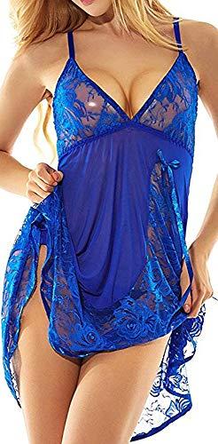 ADOREJOY Womens Babydoll Lingerie Set Plus Size Sleepwear(3XL,Blue) (Lingerie Camo Plus Size)