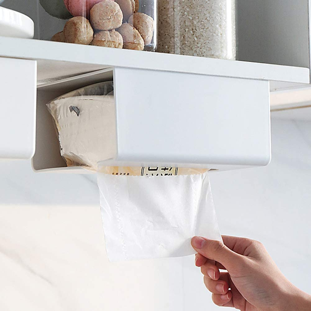 Colorido Kitchen Paper Storage Box Wall-Mounted Desk Toilet Tissue Holder Organiser Container for Home Decor Grey