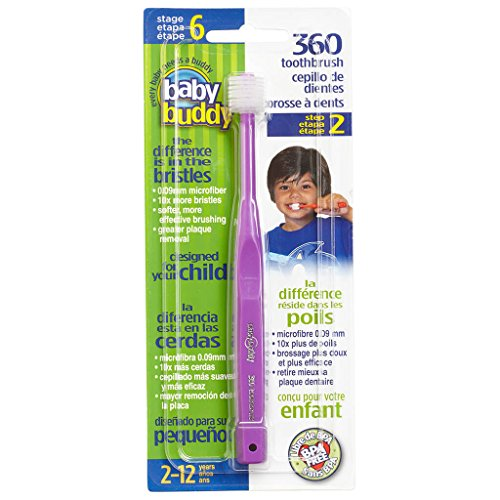 Baby Buddy 360 Toothbrush Step 2 Stage 6 for Ages 2-12 Years, Kids Love Them, Purple