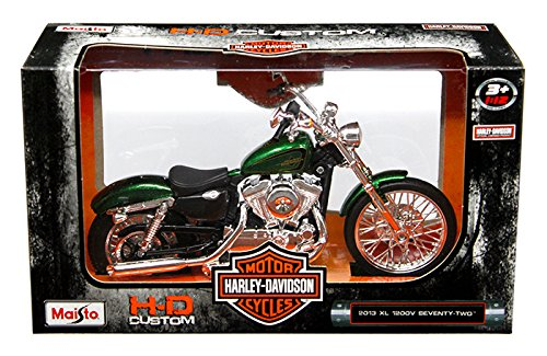 - New 1:12 HARLEY-DAVIDSON CUSTOM - GREEN 2013 XL 1200V SEVENTY-TWO MOTORCYCLES By Maisto