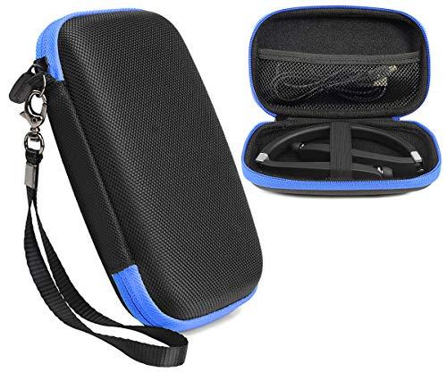 Wireless Foldable Sports Neckband Headphones Case for NEXGADGET, EGRD, HOBEST, MOCHE, Fetta, dostyle, Senbowe, Levin,Dylan, pkman, Bestyoyo, Atc, VICTA, AVIVANT, souldio (Black with contrast Blue Zip)