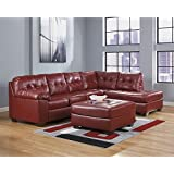 Ashley Furniture Alliston 3 Piece Leather Sectional Ottoman