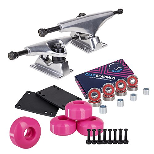 Cal 7 Skateboard Package | Complete Combo Set with 139 Millimeter / 5.25 Inch Aluminum Trucks, 52mm 99A Wheels & Bearings (Silver Truck + Pink Wheels)