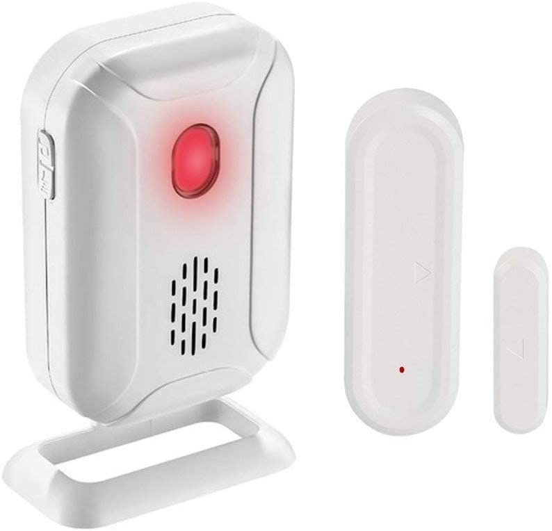GREENCYCLE Wireless Door Open Chime (Operating Range - 918FT | 36 Chime Tunes | 4 Volume Levels | LED Flashing Light) - 1 Magnetic Door Alarm Sensor, 1 Receiver Battery Operated
