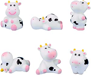 MAOMIA 6 Pcs Cow Figures for Kids, Animal Toys Set Cake Toppers, Cow Fairy Garden Miniature Figurines Collection Playset for Christmas Birthday Gift Desk Decoration
