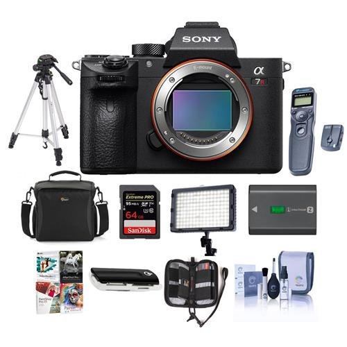 Sony a7R III Mirrorless Digital Camera Body – Bundle with Camera Bag, 64GB SDHC U3 Card, Tripod, Spare Battery, Video Light, Wireless Remote Shutter, Memory Wallet, Card Reader, Software Pack And More