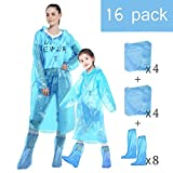 HUABEI Disposable Family Rain Ponchos 16 Pack,4 Adult + 4 Children + 8 Disposable Shoes Cover, Adult Child Use, Raincoat with Drawstring Hood, Emergency Lightweight, for Outdoor Use Family Travel