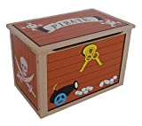 Kiddi Style Children's Pirate Wooden Treasure Chest Toy Box