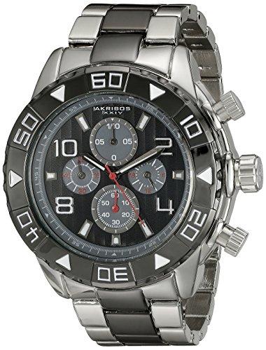 Akribos XXIV Men's AK814TTB Chronograph Quartz Movement Watch with Black Dial and Silver and Black Bracelet