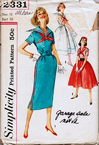 Simplicity 2331 Vintage Sewing Pattern, Misses' One-Piece Sailor Dress with two Possible Skirts, Check offers for Size (Wiggle Sailor Dress)