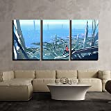 wall26 3 Piece Canvas Wall Art - Aerial View with the Man Sitting on Edge of Building Looking at Futuristic City - Modern Home Decor Stretched and Framed Ready to Hang - 24''x36''x3 Panels