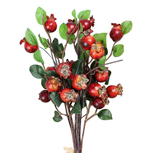 Healifty Artificial Rosehip Berries Simulation Pomegranate Fruit Floral Accessories for Thanksgiving Christmas(Red)