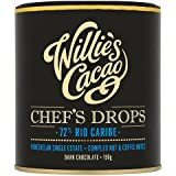 Willies Cacao Chef's Drops 72 Percentage Rio Caribe Dark Chocolate Bar , 150g