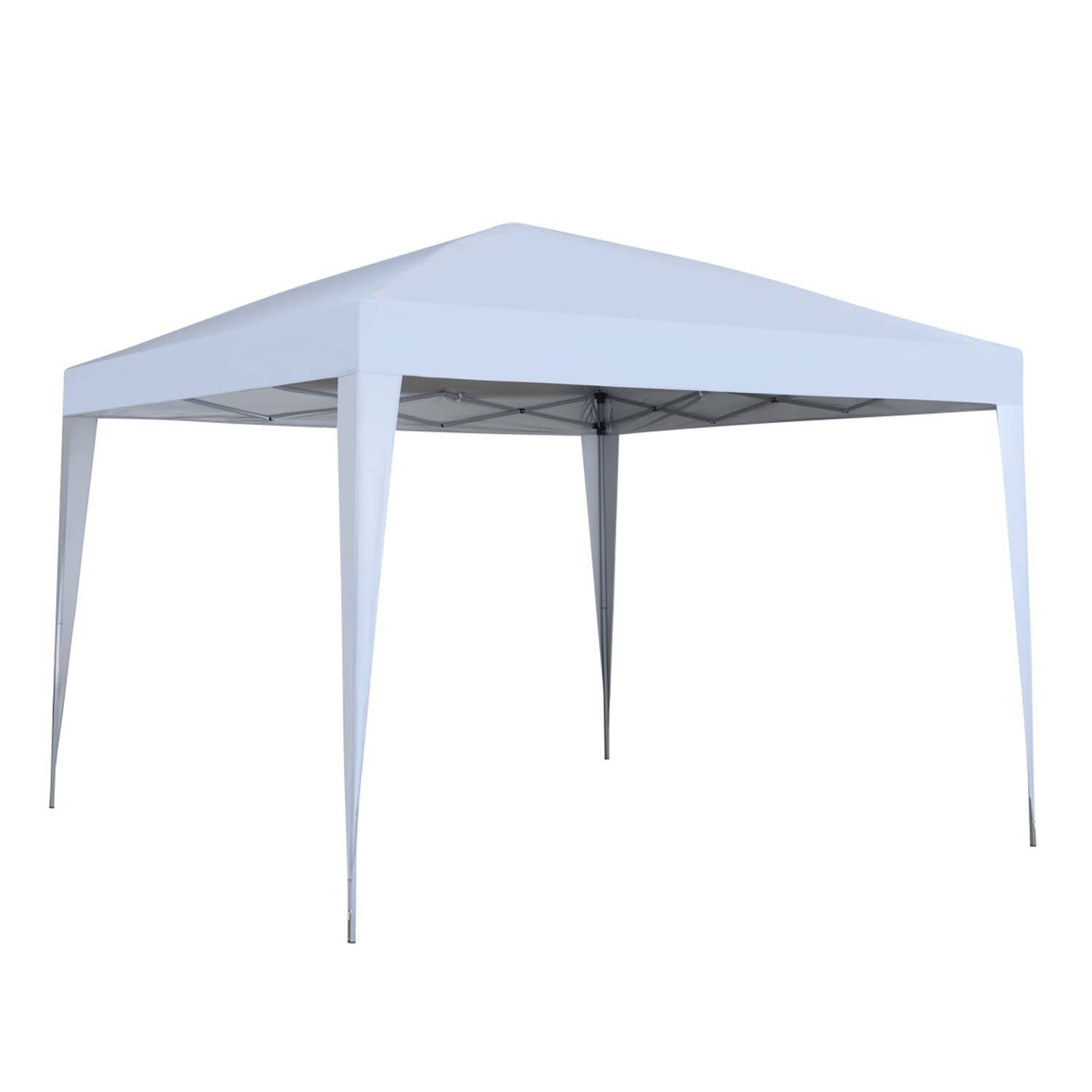 10 x 10 ft Pop-Up Canopy Tent Gazebo for Beach Tailgating Party White