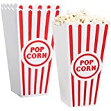 "[Novelty Place] Plastic Red & White Striped Classic Popcorn Containers for Movie Night - 4"" Square x 8"" Deep (4 Pack)"
