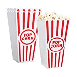 [Novelty Place] Plastic Red & White Striped Classic Popcorn Containers for Movie Night - 7.8'' Tall x 3.8'' Square (8 Pack)