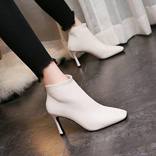 Bottes Bien Mode Fermeture white Rice Chaussures À De Carré Bottes Après Talons KHSKX Martin Court Correspond Hiver Bottes À P7nUqPwd4