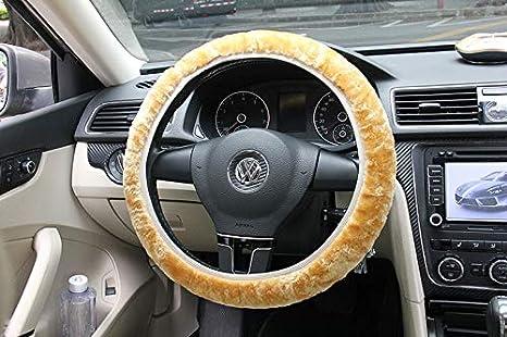 Au/ßendurchmesser: /über 25-35cm Farbe : Black TIANTUOS Lenkradbezug samt Steering Wheel Cover Stitch Universal Premium Soft-Short-Pl/üsch-Winter-Auto-Lenkrad-Abdeckung Schwarz