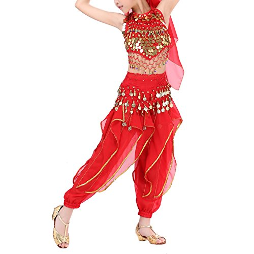Wingbind Kids Girls Child Belly Dance Costumes India Dance Costoms Halloween Carnival Set Genie Child Costume Halter Top Pants Gold Coins All Accessories for $<!--$20.44-->