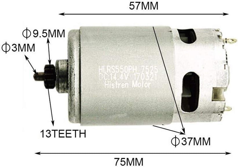 outils /électriques en m/étal Moteur 13 dents 14,4 V pour Bosch GSR GSR14.4-2-Li PSR14.4 Li-2 pi/èces de rechange durables pour moteur de perceuse argent