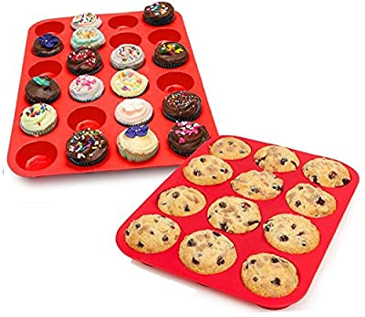My Muffin Tins | 12 Cups Silicone Cupcake Mold and 24 Cups Silicone Mini Muffin Pan Tray Set, Nonstick Surface Bakeware Cupcake Maker, Food Grade Nontoxic, Safe for Microwave (450F) Freezer Dishwasher