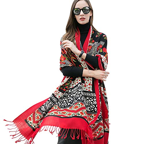 DANA XU 100% Pure Wool Women Scarf Large Size Pashmina (Red) (Gathered Coat Wool)