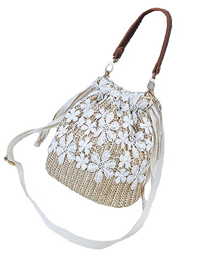Brown Lace Shoulder Khaki Straw Women Crossbody Knitting Bag Hand Bag Beach Bag Outdoor Bag 7p4qzx5wH