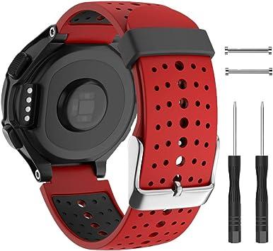 Isabake Correa para Garmin Forerunner 735XT 235 230 220 620 630 Accesorios, Correa de Repuesto de Silicona Suave para Garmin 235/230/620/630/35XT (Rojo): Amazon.es: Deportes y aire libre