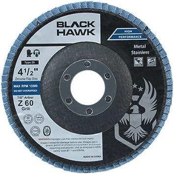 10 Pack 4-1/2 x 7/8 Black Hawk Zirconia Grinding & Sanding Flap Discs T27 (60 Grit) by Black Hawk: Amazon.es: Bricolaje y herramientas