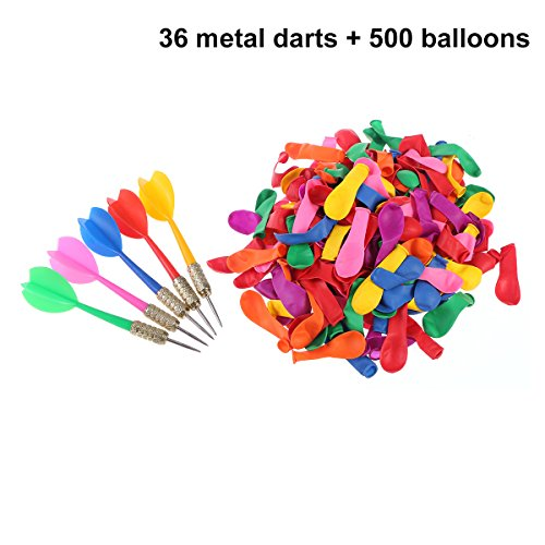 TOYMYTOY Darts Target Game Set 36pcs Darts 500pcs Balloons Bundle Party Carnival Balloon Pop Game