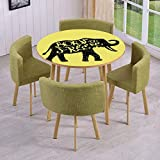 Free Coffee Table Plans iPrint Round Table/Wall/Floor Decal Strikers,Removable,Sketchy Elephant Silhouette with Born to Be Free Inspirational Phrase Drawing,for Living Room,Kitchens,Office Decoration