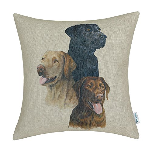 CaliTime Canvas Throw Pillow Cover Shell for Couch Sofa Home Decor, Animals Theme Lovely Dogs, 18 X 18 Inches, Cream Black Brown Labrador (Coffee Theme)