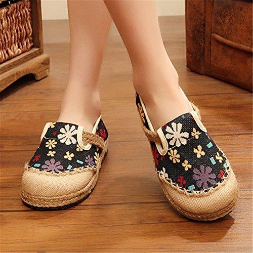 Planos de Mujer Jane Zapatos Estilo Planos Patrón Mary MISSMAOM Redonda Negro Flores con Zapatos 50's Vintage de Punta dRwYIZ