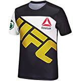adidas UFC Official Reebok Black FIght Kit Walkout Black Gold Jersey Men's Large