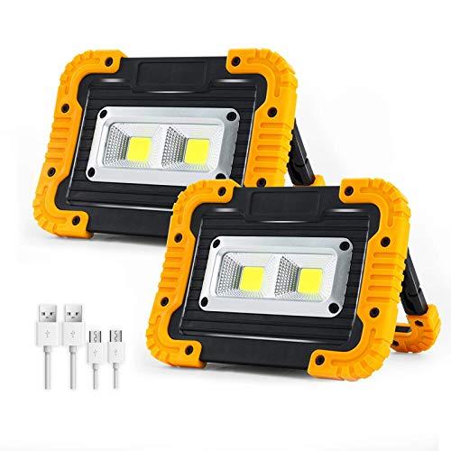 WOERD LED Baustrahler, LED Arbeitsleuchte Akku, 180° Drehbare1500 Lm Tragbarer Arbeitsstrahler IP65 Wasserdicht 3 Modi…