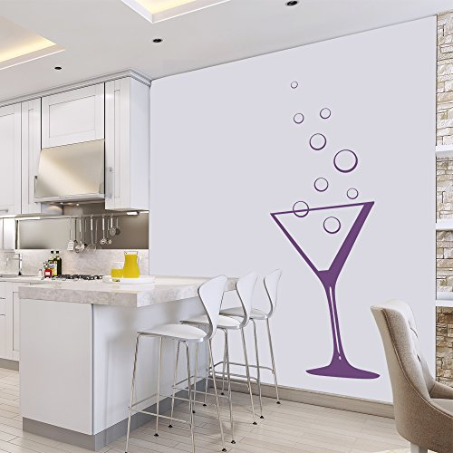 azutura Cocktail Glass Wall Sticker Martini Glass Wall Decal Kitchen Bar Home Decor available in 5 Sizes and 25 Colours X-Large Fuchsia Pink ()