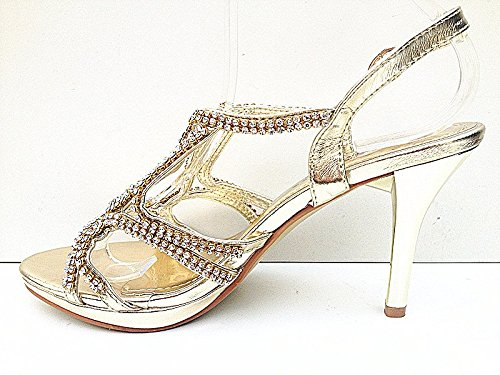 3003 26 Sandale chaussures talon soirée DORE strass femme mariage escarpins aiguille wzqgzn6x8O