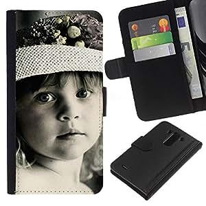 JackGot ( Pequeña niña bonita ) LG G3 la tarjeta de Crédito Slots PU Funda de cuero Monedero caso cubierta de piel