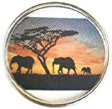 Fashion Snap Jewelry Mom Dad Baby Elephant Family Walking In The Sunset Picture 18MM - 20MM Charm