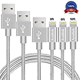 #3: Aonlink iPhone Cable, 3Pack 3FT 6FT 10FT Nylon Braided to USB Lightning iPhone Charger Cord with Aluminum Connector for iPhone 7/7 Plus/6s/6s Plus/6/6Plus/5s/5c/5, iPad/iPod Models-Gray