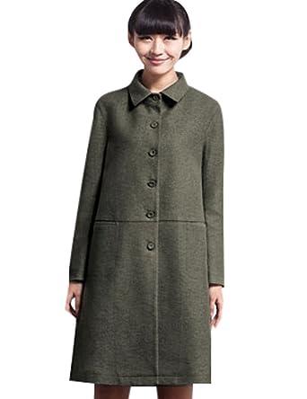 307cfd9bb503 Youlee Damen Revers Einreiher Mantel mit Taschen Grün L  Amazon.de ...
