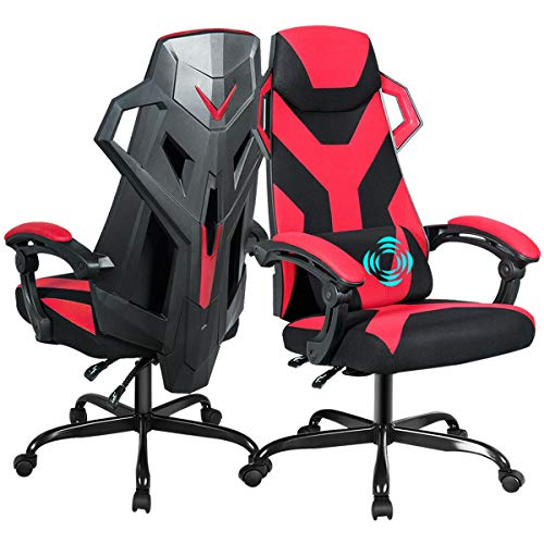 Giantex Massage Gaming Chair, Large Size Racing Chair with USB Lumbar Pillow, Armrest, Adjustable Backrest, Headrest, Widen Thicken Seat, High Back Office Racing Chairs (Red)