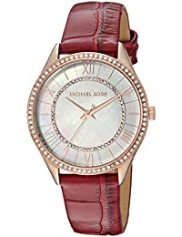 Women's 'Lauryn' Quartz Stainless Steel and Leather Casual Watch, Color:Red (Model: MK2691)