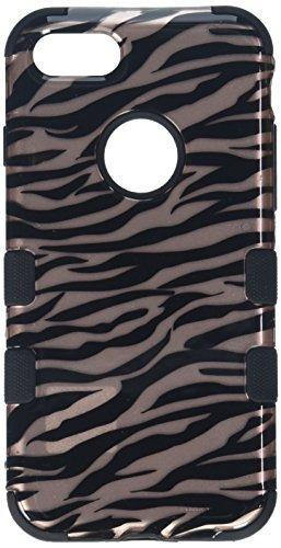 Asmyna Cell Phone Case for Apple IPhone 7 - Zebra Skin/Black (2D Rose Gold)/Black