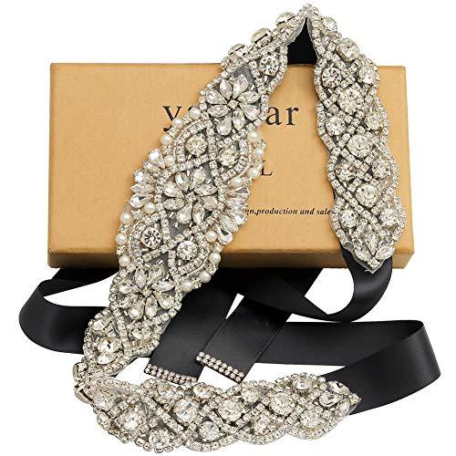 Yanstar Handmade Silver Rhinestone Crystal Wedding Bridal Belt Sash With Black Ribbon For Wedding Dress